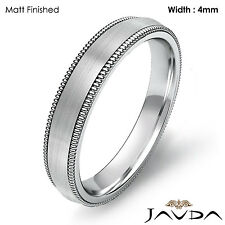 4mm Dome Milgrain Solid Ring Platinum Plain Men's Wedding High Polish Band 8.7gm