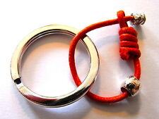 Portachiavi M Argento 925 anello brisè acciaio cotone naturale cerato colorato
