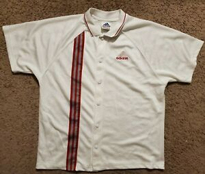Vintage Adidas Baseball Jersey Button Up Polo Red and White 3 Stripes Mens Large