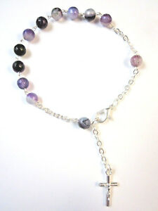 Rosary Bracelet with PURPLE AGATE Gemstone Beads and Crucifix Made in Italy New