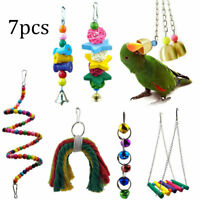 7 Pack/set Beaks Metal Rope Small Parrot Toy Budgie Cockatiel Cage Bird Toys Set