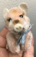 Rare Antique Vintage Miniature Mohair Schuco Tiny Pink Pig 3� X 2�