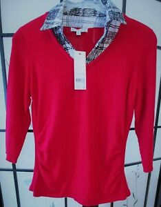 Notations Misses Shirt -Sz. M (Style# MSVF1096) New w/Tags Red w/BLK/Wht Collar