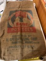 Antique Marshill Maine ME Smith Packing 100 LB Bag Sack Stag Deer Potato Burlap