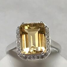 Natural 2.5ct Golden Citrine Accent Stone 925 Sterling Silver Emerald Cut Ring 9