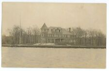 RPPC Large Victorian Mansion For Sale by a Lake Americana Real Photo Postcard