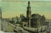 .SYDNEY , TOWN HALL & ST ANDREW'S CATHEDRAL NEW SOUTH WALES 1907 POSTCARD