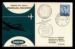 DR WHO 1957 BELGIUM FIRST FLIGHT SABENA BRUSSELS TO BUCHAREST C244039