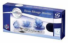 Duralex beau rivage marin tasses & soucoupes en verre (12pc set)
