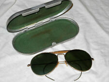 096cb5481ef Vintage BAUSCH   AVIATOR GLASSES w  Metal Case ORIGINAL Green Lens WW II era