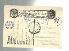1942 Italy Prisoner of War POW Camp 52 Censored Cover to South AFrica P Radley
