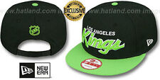 Kings 'TEAM-SCRIPT SNAPBACK' Black-Lime Hats by New Era