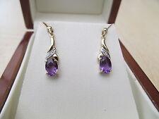 Ladies 9ct Y/gold & Amethyst Diamond drop Earrings *NWOT*