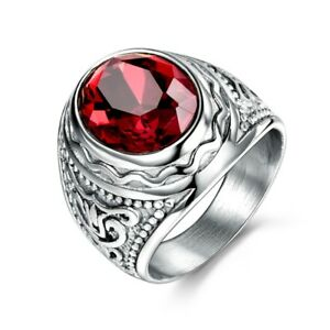 Round Ruby Bishop Cleric Cross Christian Stainless Steel Silver S.8-12 Men Ring