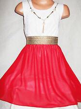 GIRLS GOLD TRIM WHITE LACE RED CHIFFON DIP HEM CHIFFON PARTY DRESS age 3-4