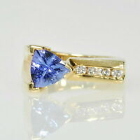 3Ct Trillion Cut Tanzanite Women's Wedding Vintage Ring In 14k Yellow Gold Over