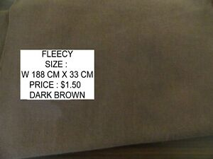 PLAIN FLEECY FABRIC MATERIAL SIZE:W 188 CM X L 33 CM  IN BROWN