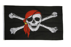 Pirate Flags - Large 5 x 3 FT - Jolly Roger Skull Crossbones Swords Skeleton
