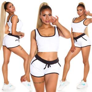 Koucla Ladies 2-teilig Jogging Fittnes Sports Summer Set Crop Top+Shorts