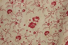 Floral Fabric Antique / vintage French pink faded material curtain shabby chic