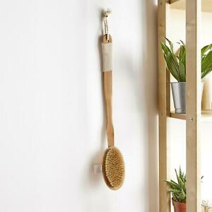 2in1 Natural Bamboo Dry & Wet Long Hand Body Brush Cellulite Skin Exfoliate