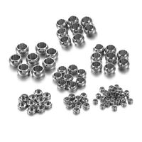 120pcs Stopper Spacer Beads Stainless Steel Crimp End Ball Crafts Jewelry Making