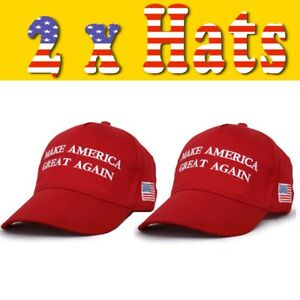 2 x MAGA Make America Great Again Trump Hat Cap 2020 Red Cotton USA Election NEW