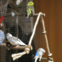 PET BIRD PARROT WOODEN ROPE CLIMBING HANGING CAGE LADDER STAND PERCH CHEW TOY FA