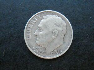 USA, MONEDA 10 CENTAVOS PLATA -ONE DIME-, AÑO 1959 D, CONSERVACIÓN MBC