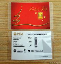"0,1 Gramm PIM Goldbarren ""Frohes Fest"" (0,10g Gold Barren Weihnachtsgeschenk)"