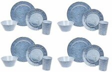 16PC Melamine Dinner Set Stripe Wave Plates Bowls Kitchen Service Dining Set New