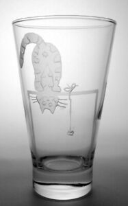 """Hand Engraved Cat Lovers Glass #8 - """"Acrobatics"""""""