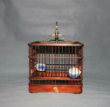 display China red hard wood square rosewood 1-drawer bird cage w copper holder