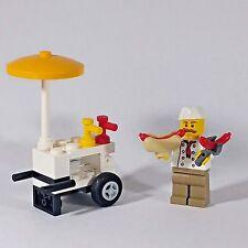 "Genuine LEGO ""Hotdog vendeur"" FIGURE + Hotdog panier"