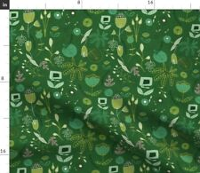 Flower Floral Forest Woodland Emerald Mid Century Spoonflower Fabric by the Yard