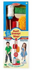 Kids Cleaning Supply Wooden Broom Mop Storage Dust Pan Pretend Play Set New