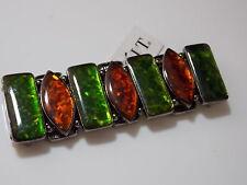 Japanned Black Stretch Bracelet Emerald Green Brown Tinsel Opalescent #93