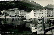 Primi '900 Riva del Garda Trento panorama porto barca vela monti FP B/N ANIM