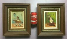 2 primitive - folk paintings by French Canadian artist J. Mussely done in 1977.