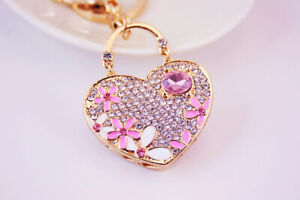 Love Heart Cherry Blossom Flowers Crystal Diamante Bag Charms Handbag Keyrings