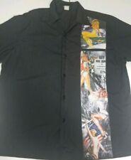 Felon Clothing Co Mens L Button Black Shirt vintage world war signs printed