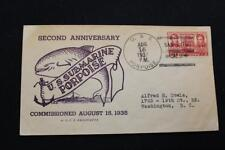 Naval Cover 1937 Ship Cancel 2Nd Anniv Commission Uss Porpoise (Ss-172) (5873)