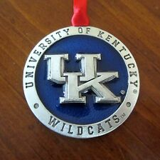 new! UK University of Kentucky Wildcats PEWTER & BLUE ENAMEL CHRISTMAS ORNAMENT