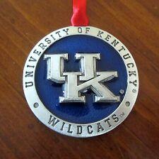 new! UK University of Kentucky Wildcats PEWTER & BLUE ENAMEL CHRISTMAS ORNAMENT