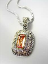 EXQUISITE Designer BALINESE Silver Gold Brown Topaz CZ Crystal Pendant Necklace