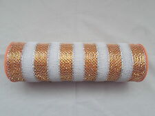 Orange and White Striped Deco Mesh 10 inches by 10 yards