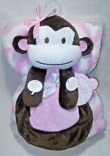 Blanket Buddies Girl Pink White Chevron MONKEY 2pc Set Zig Zag Lovey Squeak NWT