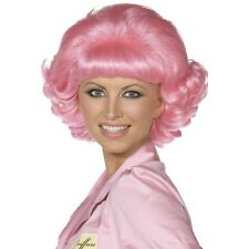 Women's 1970's Film Grease Frenchy Pink Short Curly Wig Pink Lady Fancy Dress