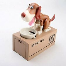 Choken Hungry Bank Puppy Piggy Saving Brown Money Coin Dog Bank Eating US Box