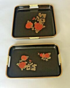 Set of two 1990s Plastic Decorative Trays Black Shiny Sparkly Floral Not Signed